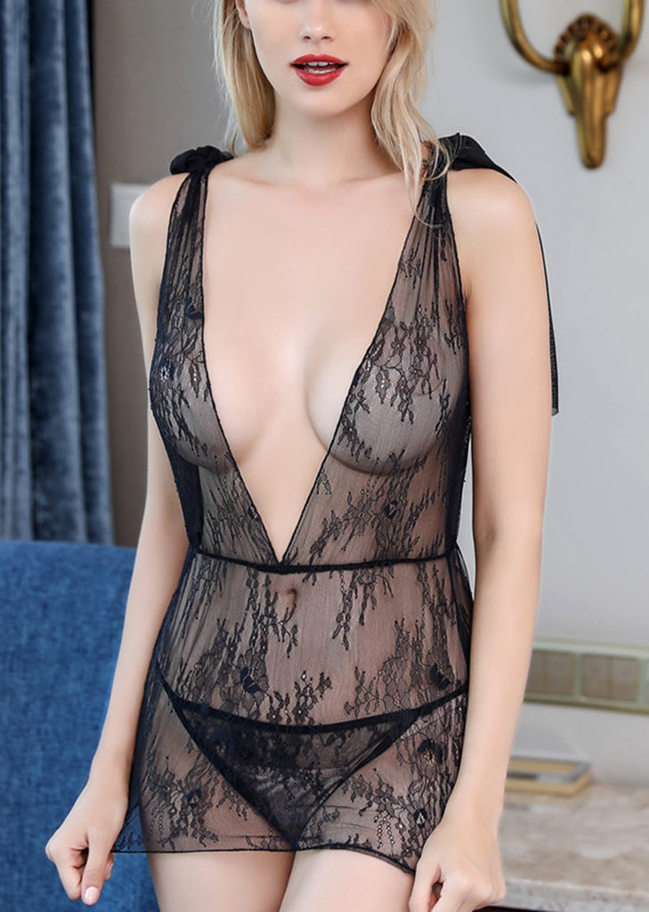 Free Shipping -- Black V-Neck Mesh Tie A Knot Backless Lingerie Set