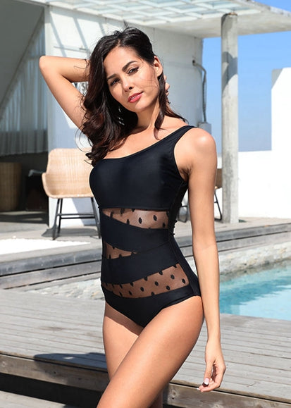 Free Shipping -- Sexy Black Mers One Shoulder Monokini