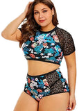 Free Shipping -- Floral Print Hollow out in Sleeves High Waist Tankini