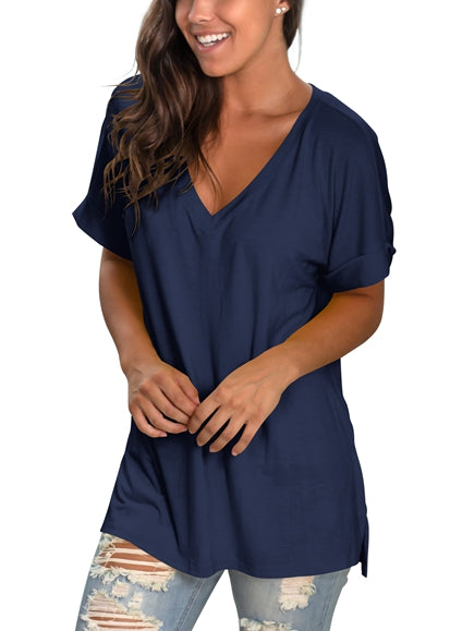 Free Shipping -- Navy Women's V Neck T Shirt Rolled Sleeve Side Split Tunic Tops