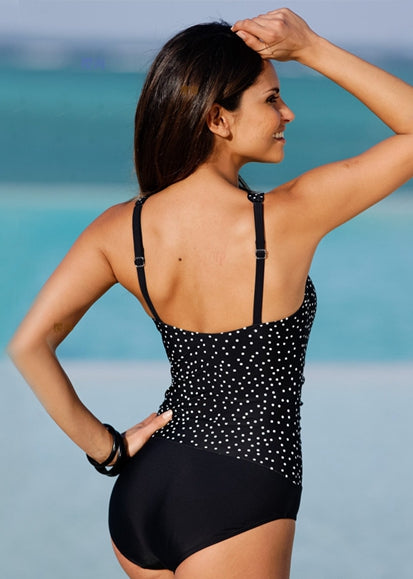 Free Shipping -- Flower And Polka Dot Print Skin-tight Monokini