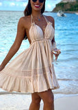 Free Shipping -- Deep V-Neck Backless Halter Summer Short Beach Dress
