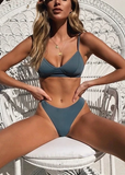 Free Shipping -- Solid Color Push Up Bikini For Women