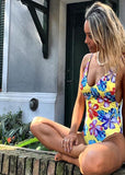 Free Shipping -- Sexy Tropical Floral Print Deep V-Neck Monokini Backless