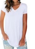Free Shipping -- Solid Color V Neck Short Sleeve T Shirts Summer Casual Tops