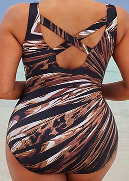 Free Shipping -- Sexy Lady Leopard Radial Line Print Monokini