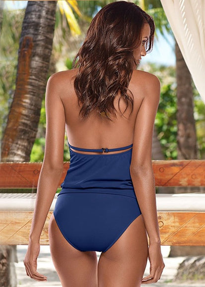 Free Shipping -- Sexy Stripe Print Hollow out in Back Monokini