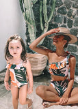 Free Shipping -- Tropical Print Ruffle One Shoulder High Waisted Tankini Mommy & Me