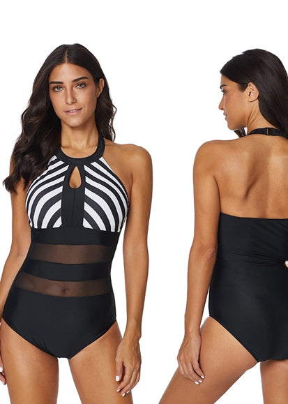 Free Shipping -- Sexy Mesh Black & White Stripe Skin-tight Monokini