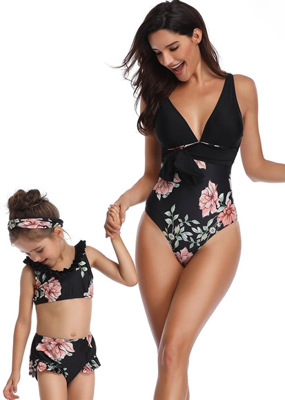 Free Shipping -- Black Flower Print Swimwear Mommy & Me