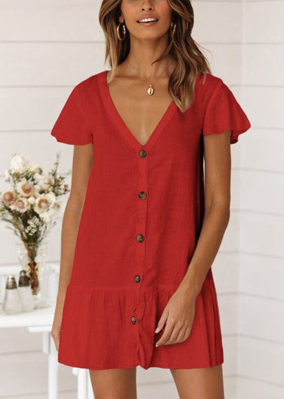 Free Shipping -- Sexy Soild Color V-neck Single Button Long Sleeve Shirt Cover Ups