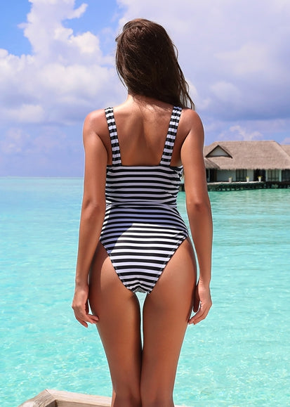 Free Shipping -- Sexy Black/White Stripe Deep V Shoulder Straps Monokini