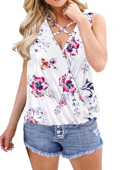Free Shipping -- Womens Printed Tank Tops Summer Draped Wrap Front Shirts