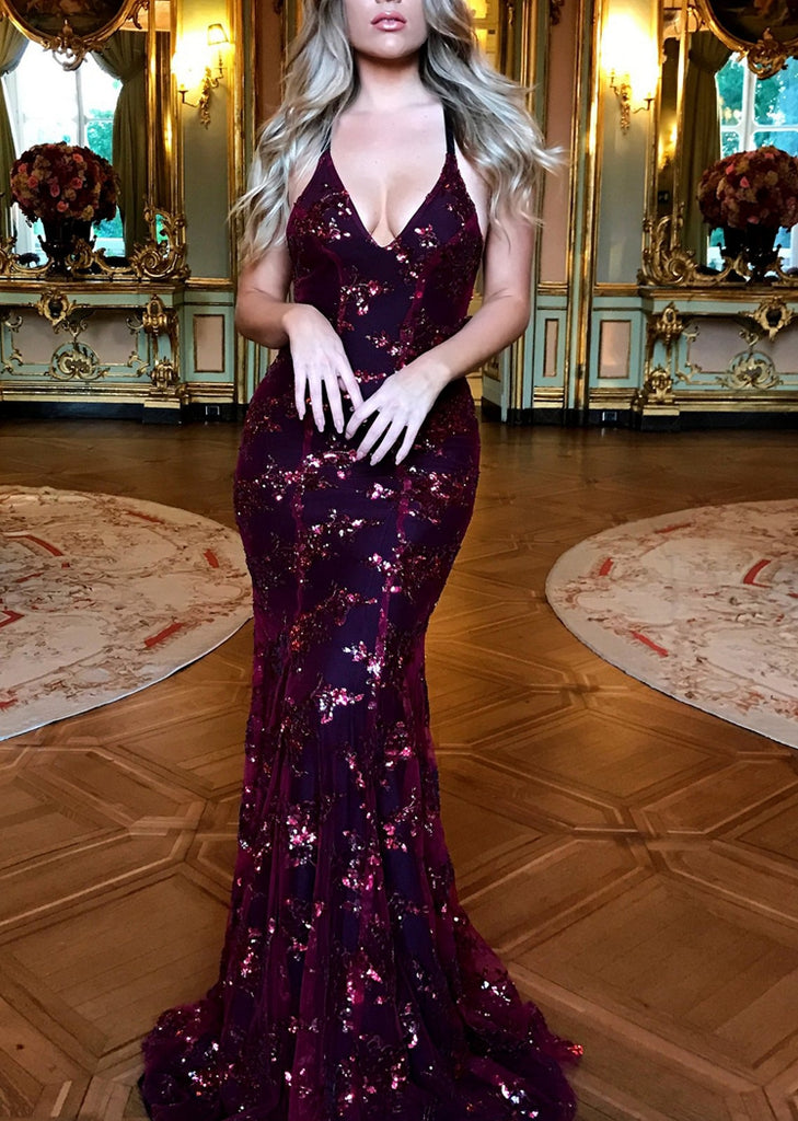 Free Shipping -- Burgundy V-Neck Sequin Dress Backless Maxi Prom Dress