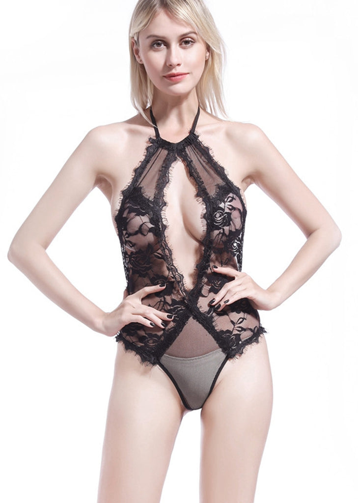 Free Shipping -- Black Lace Cutout Halter Backless Teddy Bodysuits