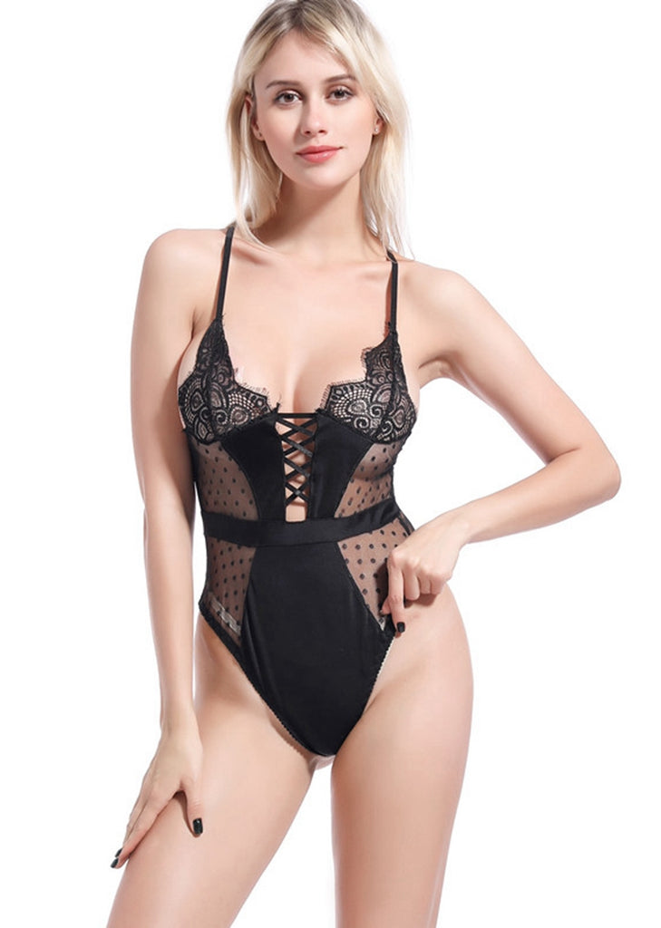 Free Shipping -- Black Mesh Lace Polka Dot Backless Teddy Bodysuits Lingerie Set