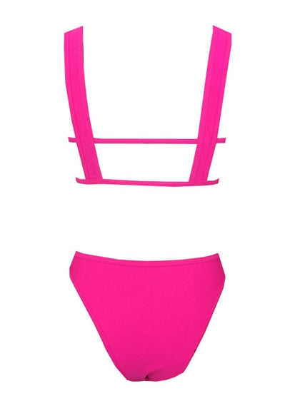 Free Shipping -- Pink Hollow Out High Waisted Tankini