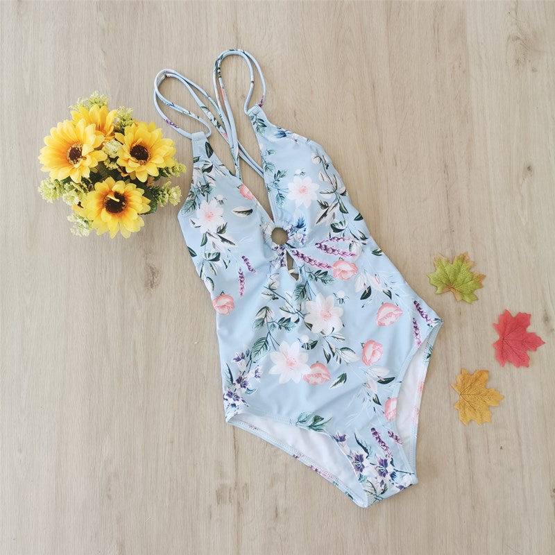 Free Shipping -- Women Floral Print Deep V-Neck Hollow out Monokini Swimsuit