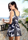 Free Shipping -- Swan Print Two Pieces Swimdress