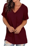 Free Shipping -- Burgundy Fashion Women Basic V Neck with Pocket Tank Tops Side Split T Shirts