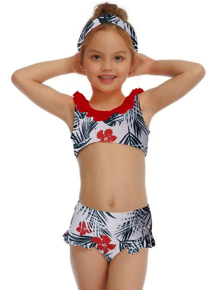 Free Shipping -- Red Leaf Print Swimwear Mommy & Me