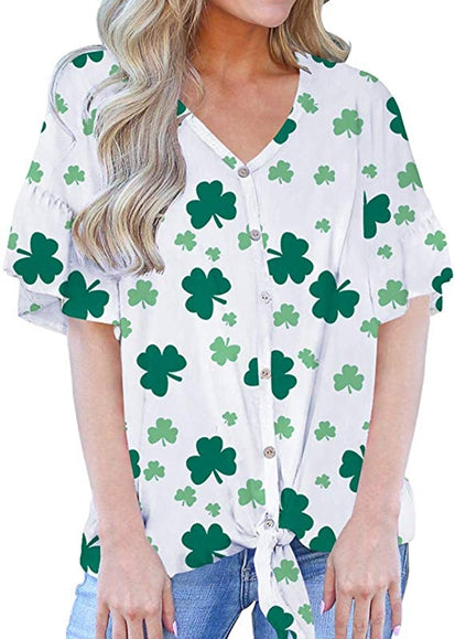 Free Shipping -- Clover Tie Front Knot Tops Button Down Short Sleeve Blouse