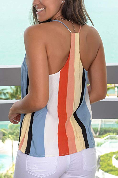 Free Shipping -- Multicolor Stripe Sleeveless Casual Tank Tops Color Block Camisole