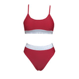 Free Shipping -- Solid Color Shiny Belt Hight Waisted Tankinis