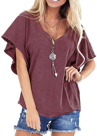 Free Shipping -- Summer Womens Casual T-Shirt Loose Sleeve V-Neck Tops