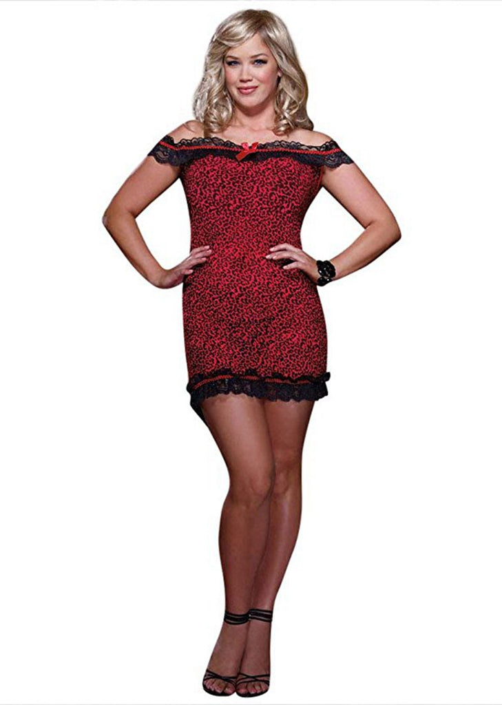 Free Shipping -- Red Leopard Print Bodycon Dress Off Shoulder Lace Nightdress