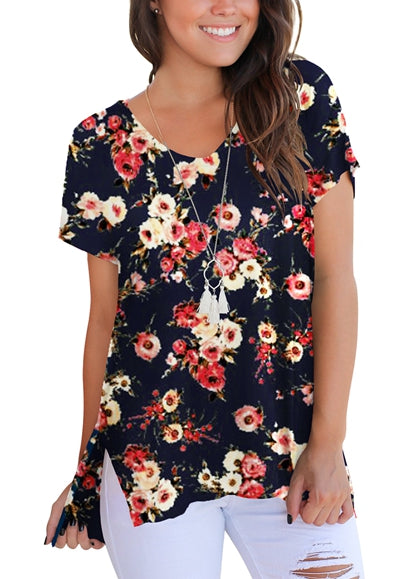 Free Shipping -- Floral Print Side Slit V Neck Loose Short Sleeve T Shirt