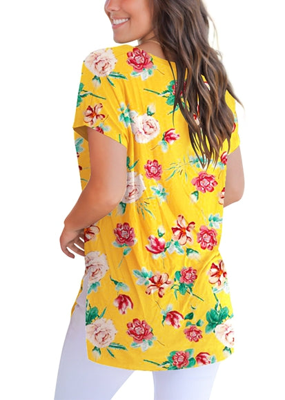 Free Shipping -- Yellow Floral Print Side Slit V Neck Loose Short Sleeve T Shirt