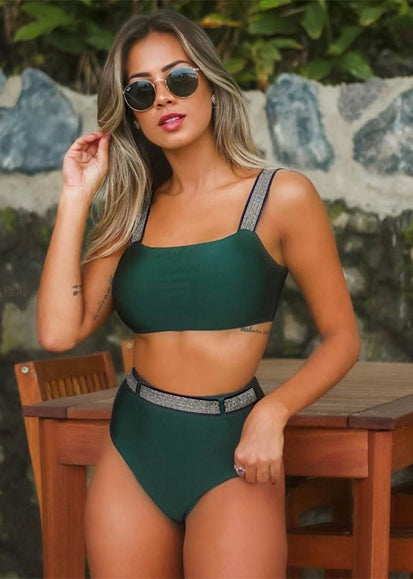 Free Shipping -- Shiny Shoulder Strap High Waisted Bikini