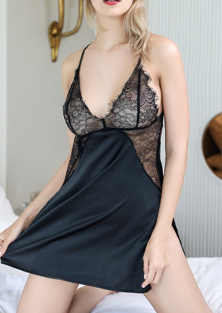 Free Shipping -- Black Nighties Lace Satin Backless Crisscross Lingerie Nightdress