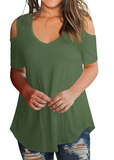 Free Shipping -- Casual V Neck Cold Shoulder Tops Short Sleeve T shirt