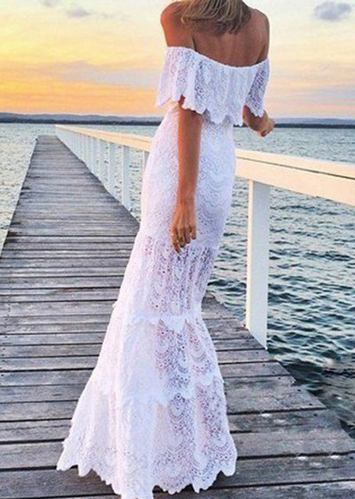 Free Shipping -- Off The Shoulder Sexy White Maxi Lace Dress