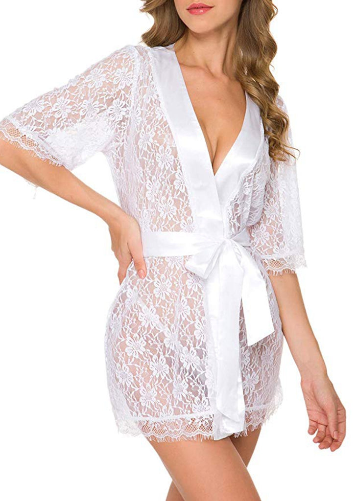 Free Shipping -- Lingerie leepwear Half Sleeves Solid Lace Nightgown