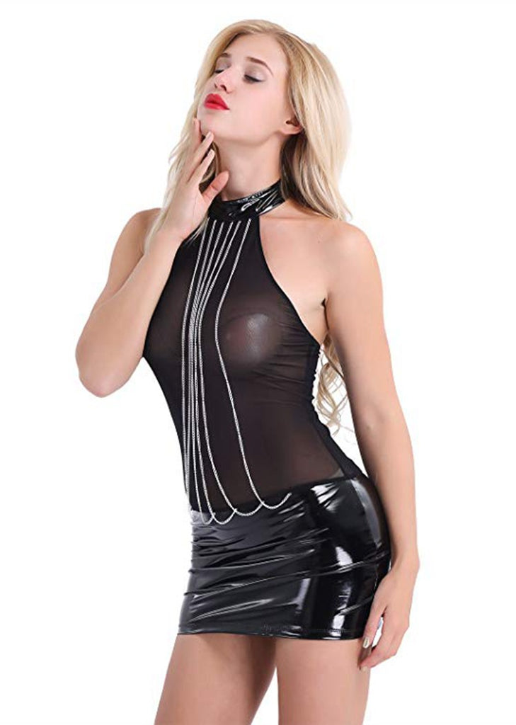 Free Shipping -- Hanging Chain Front Black Mesh PU Leather Lingerie Dresses