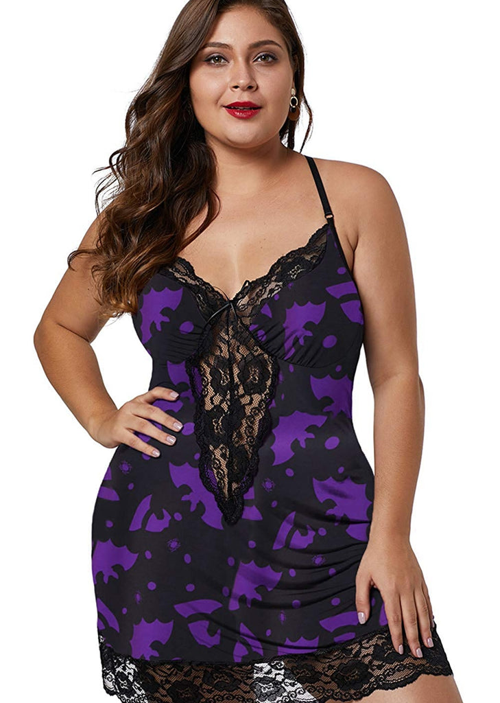 Free Shipping -- Black/Purple Lingerie Nightdress Chiffon Lace Camisole Sleepwear