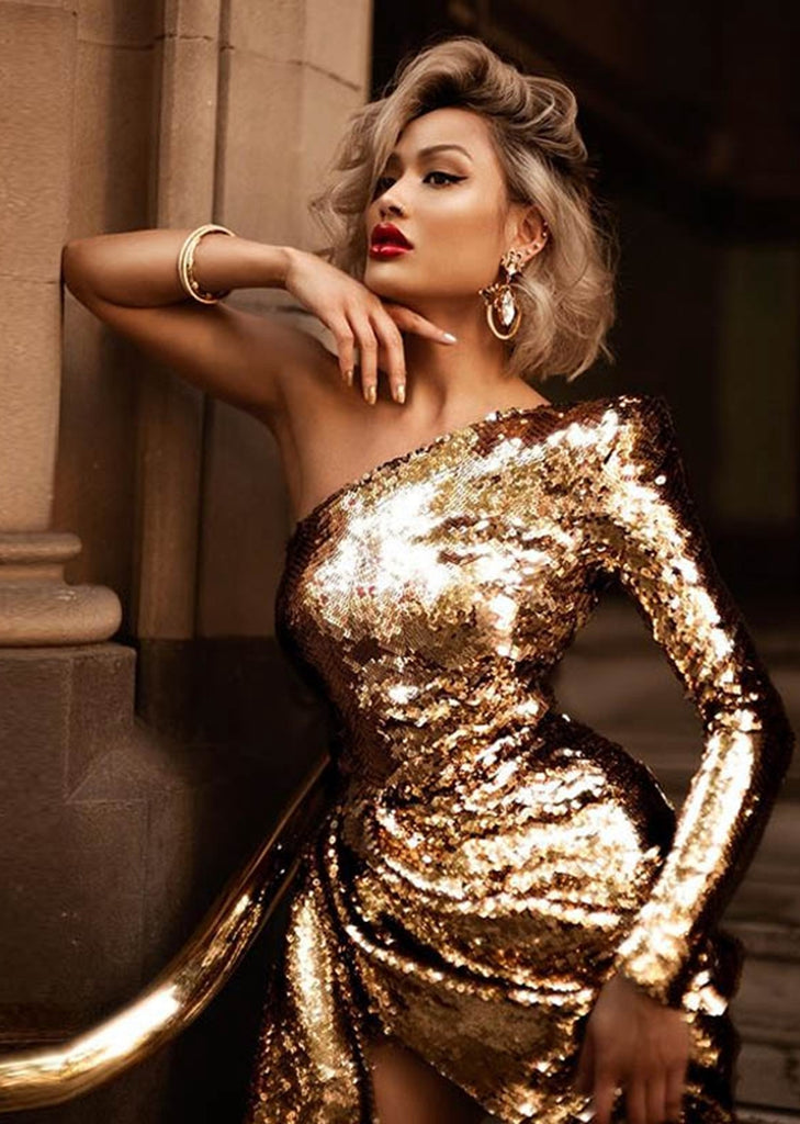 Free Shipping -- Gold One Shoulder Sequin Slim Evening Dress