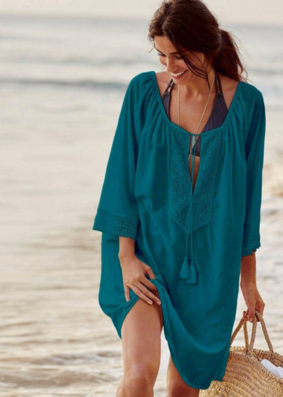 Free Shipping -- Solid Color Long Sleeve Embroidered Beach Dresses