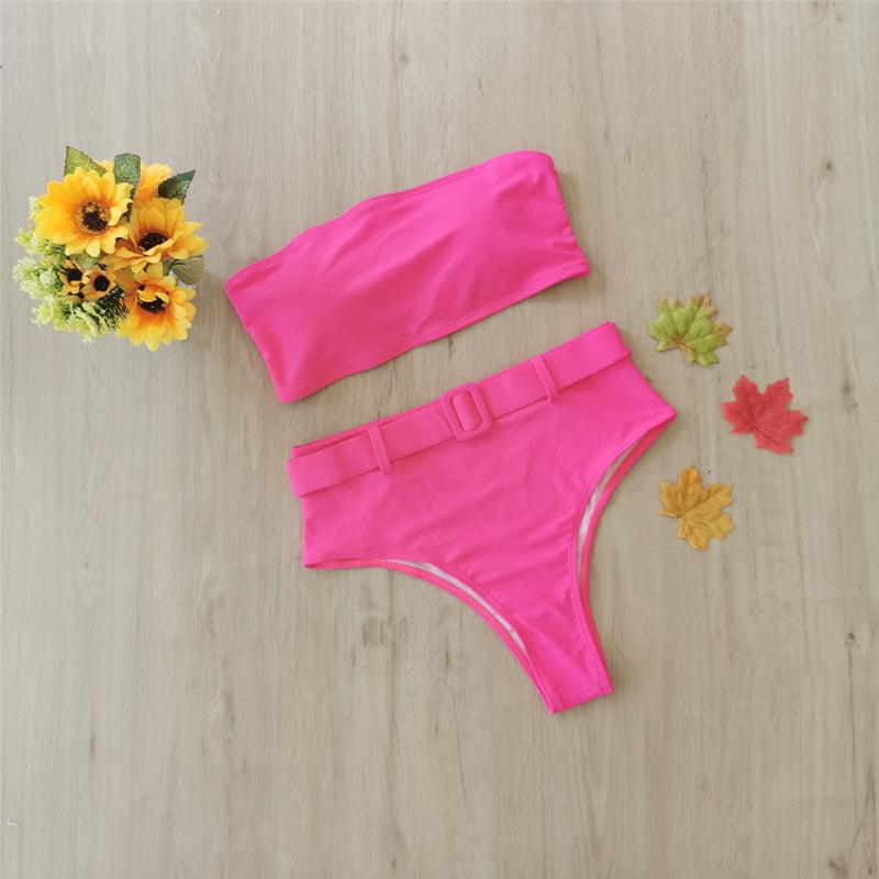 Free Shipping -- Sexy Solid Ring Linked Bandeau High Waisted Bikini