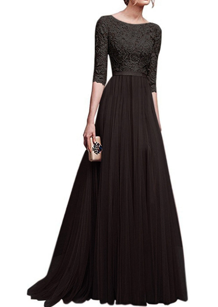 Free Shipping -- Solid Lace Chiffon Bodycon Dress Half Sleeve Evening Dress