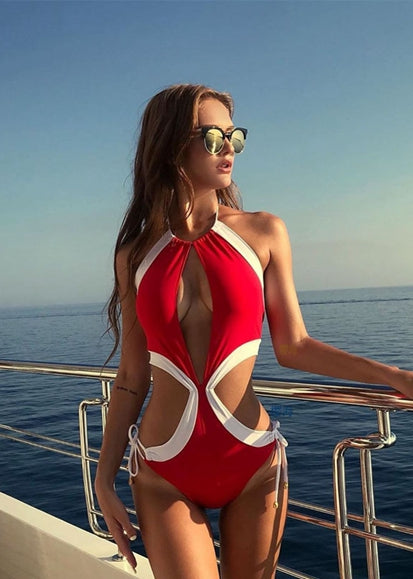 Free Shipping -- Red/White Color Block Hollow out in Side Monokini