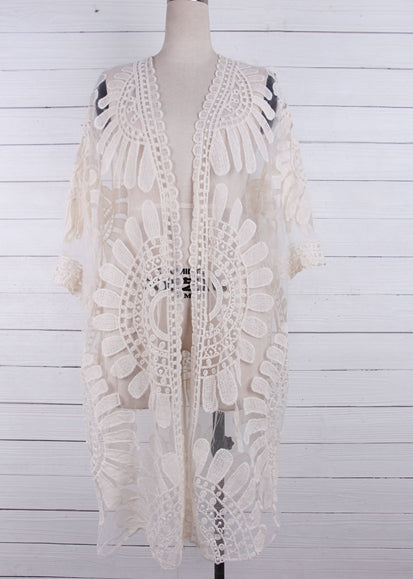 Free Shipping -- Sexy Embroidered White Cardigan Lace Cover Ups