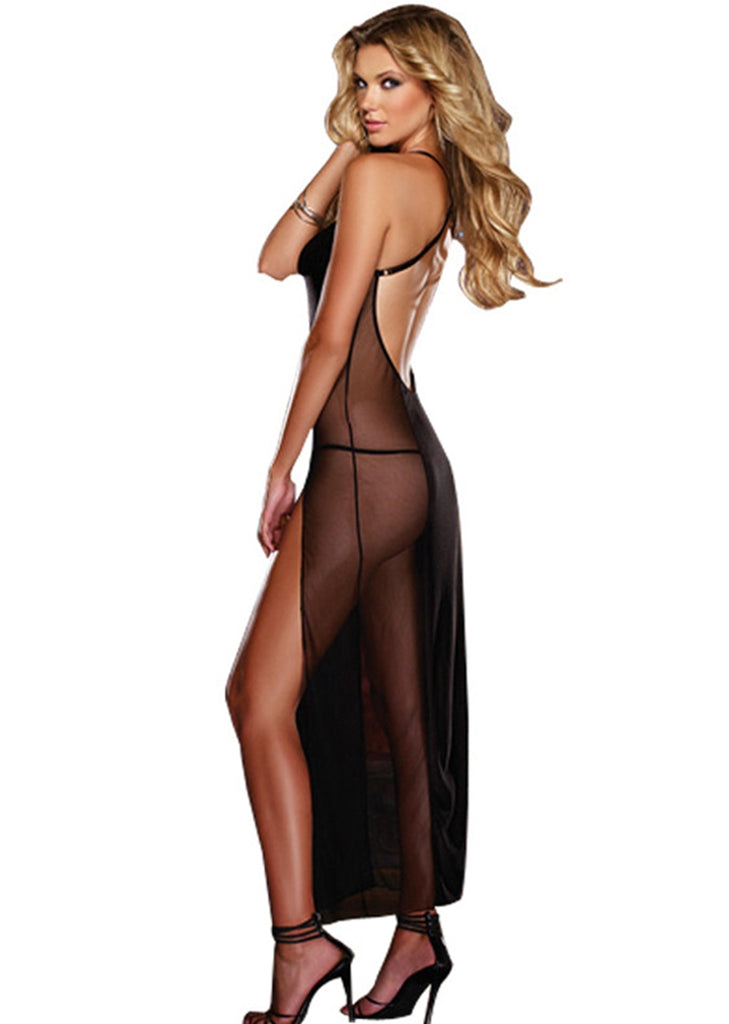 Free Shipping -- Black Lingerie Mesh Backless Maxi Nighties