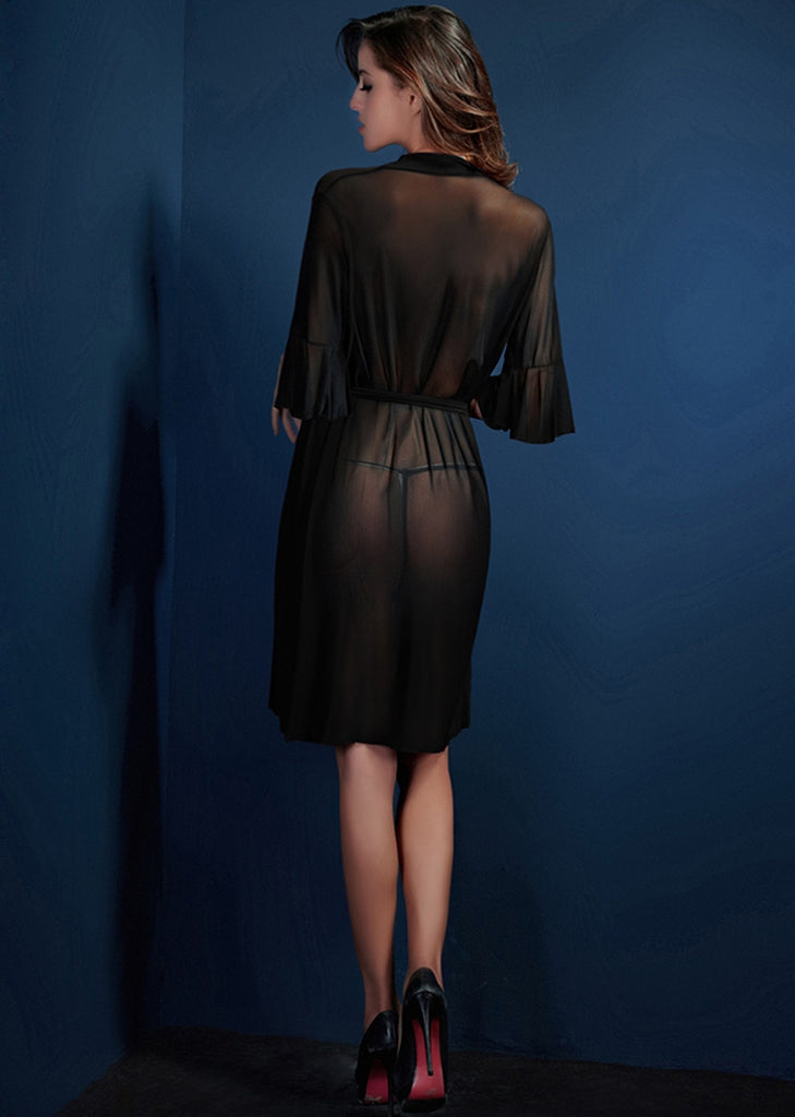 Free Shipping -- Black Mesh Flare Sleeve Cardigan Lingerie Nightgown