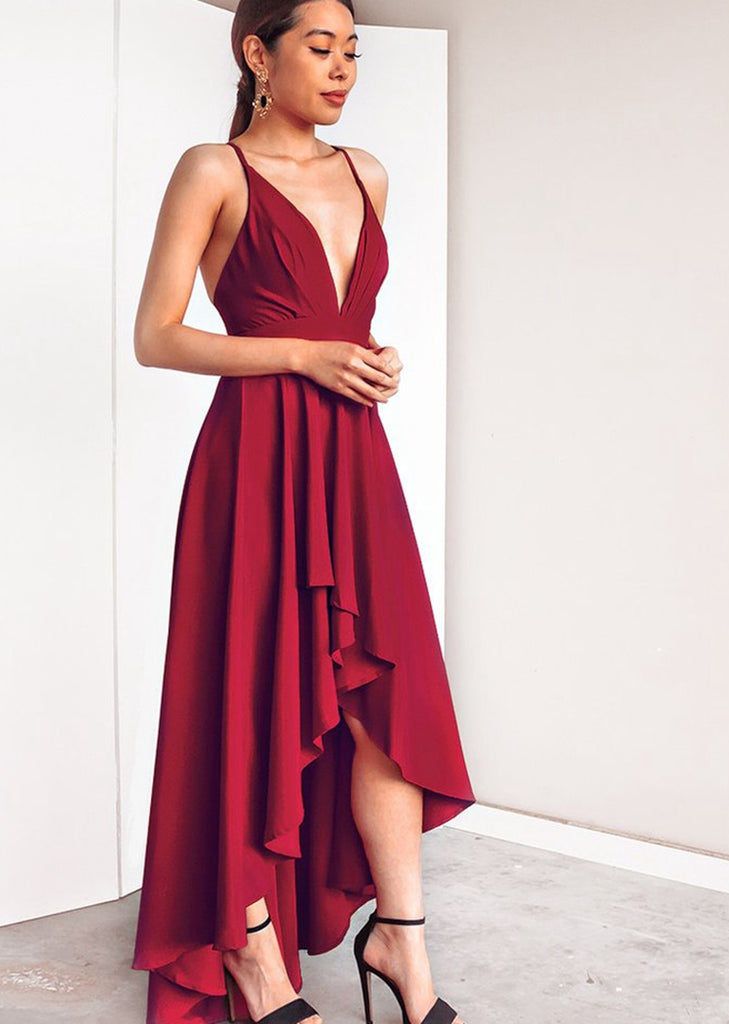 Free Shipping -- Sexy Deep V-Neck Camisole Dress Asymmetrical Evening Dress