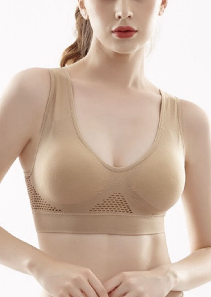 Free Shipping -- Women Plus Size Hollow Mesh Vest Sports Underwear Shockproof Running Yoga Sports Bra