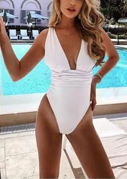 Free Shipping -- Black & White Solid Color Deep V-Neck Monokini